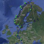 Načrt najine poti na Nordkapp, narejen v Google maps