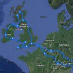 Načrt najine poti po VB in Irski, narejen v Google maps